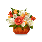Roses in Pumpkin Vase