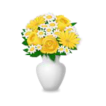 Flowers: Yellow Roses and Daisies in Vase
