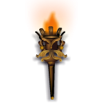 Wrought Bronze Flaming Torch