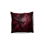 Burgundy Pillow with Skull Print 3
