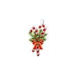 Candy Cane with Fir Tree Christmas Ornament