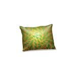 Gold and Green Mistletoe Patterned Pillow 1