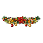 Christmas Garland with Poinsettia Flower & Candy Canes
