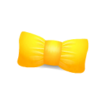 Yellow Kawaii Bow Cushion