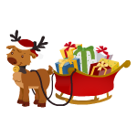 Reindeer with Sleigh Decal