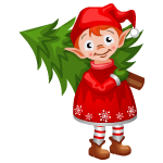 Elf with Christmas Tree Decal
