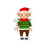 Elf With Candy Cane Decal