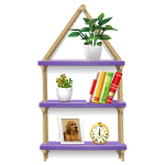 Lavender Shelves with Books and Plants