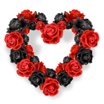 Red and Black Roses Wreath