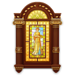 Elegant Stained Glass with Lady Motif