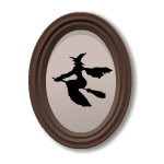 Witch Silhouette in Oval Frame