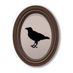 Crow Silhouette in Oval Frame