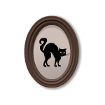 Cat Silhouette in Oval Frame