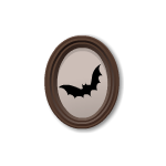 Bat Silhouette in Oval Frame