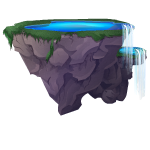 Floating Island with Waterfalls
