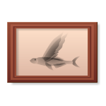 Habi - Wooden Frame with Flying Fish Picture