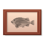 Habi - Wooden Frame with Spiky Fish Picture