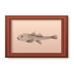 Habi - Wooden Frame with Fish Picture