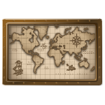 Habi - World Map in Brass Frame