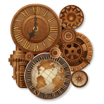 Steampunk Clock with Gears and Globe