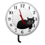 Black Cat Pendulum Clock