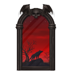 Gothic Mansion Window with Midnight View