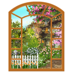 Cherry Wood Window with Spring Neighborhood View