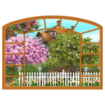 Big Cherry Wood Window with Spring Neighborhood View