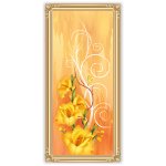 Pastel Orange Wall Art with Flowers