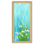 Pastel Blue Wall Art with Flowers