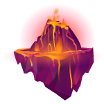 Floating Rock Island with Lava 1