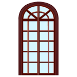 Tall Arched Mahogany Window