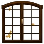 Animated Window with Falling Leaves