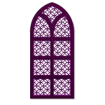 Purple Wooden Gothic Window
