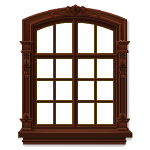 Brown Wooden Carved Window